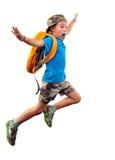 Schreeuwende springende die jongen over wit wordt geïsoleerd Royalty-vrije Stock Afbeeldingen