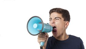 Schreeuwende tiener met megafoon Stock Foto