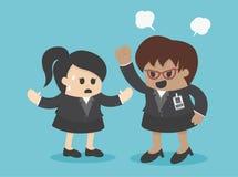 Schreeuwt de concepten boze werkgever aan zijn werknemer Royalty-vrije Stock Afbeelding