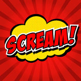 Schrei! Komische Sprache-Blase, Karikatur. Lizenzfreie Stockfotos
