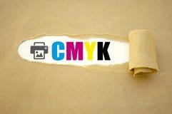 Schreibarbeit mit CMYK lizenzfreie stockbilder