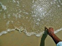 Schreiben auf Strand Stockfoto