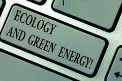 Schreiben der Anmerkung, die Ökologie und grüne Energie zeigt Geschäftsfoto Präsentationsumweltschutz, der die Wiederbenutzung au stockbild