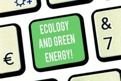 Schreiben der Anmerkung, die Ökologie und grüne Energie zeigt Geschäftsfoto Präsentationsumweltschutz, der die Wiederbenutzung au stockfoto