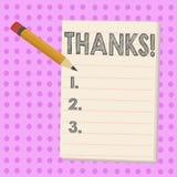 Schreiben der Anmerkung, die Dank zeigt Geschäftsfoto Präsentationsanerkennungsgruß Bestätigungs-Dankbarkeit lizenzfreie abbildung