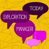 Schreiben der Anmerkung, die Erforschungs-Manager zeigt Pr?sentationsf?hrung des Gesch?ftsfotos und die Zechengellschaft s zu bet vektor abbildung
