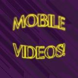 Schreiben der Anmerkung, die mobile Videos zeigt Pr?sentationselektronische medien des Gesch?ftsfotos, das an den Handys angesehe lizenzfreie abbildung