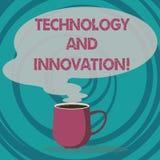 Schreiben der Anmerkung, die Technologie und Innovation zeigt Geschäftsfoto, das technologische Veränderungen von Produkt und Ser lizenzfreie abbildung