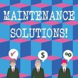 Schreiben der Anmerkung, die Wartungs-Lösungen zeigt Präsentationsservice des Geschäftsfotos stellte zur Verfügung, um ein Pr lizenzfreie abbildung