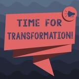 Schreiben der Anmerkung, die Zeit für Umwandlung zeigt Geschäftsfoto Präsentationsphase für dramatische Veränderung in der Form o stock abbildung