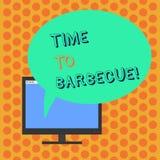 Schreiben der Anmerkung, die Zeit zeigt zu grillen Geschäftsfoto Präsentationsentspannung, Fleischhühnerschweinefleisch auf Grill stock abbildung