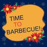 Schreiben der Anmerkung, die Zeit zeigt zu grillen Geschäftsfoto Präsentationsentspannung, Fleischhühnerschweinefleisch auf Grill vektor abbildung