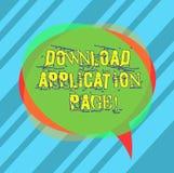 Schreiben der Anmerkungsvertretung Download-Anwendungs-Seite Präsentationscomputer des Geschäftsfotos empfängt Daten vom Internet lizenzfreie abbildung