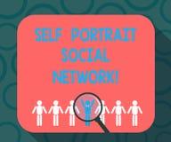 Schreiben des Anmerkungsvertretung Selbstporträt-Sozialen Netzes Geschäftsfoto, das Selfie für teilendes On-line-Smartphone zur S stock abbildung