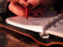 Schreiben des Zeitplanes lizenzfreie stockfotografie