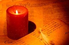 Schreiben durch Candle stockbild