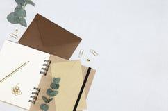 Schreiben eines Briefes Geöffnetes Notizbuch, Umschläge, goldener Bleistift, Büroklammern, Stifte, Eukalyptusniederlassungen lizenzfreie stockfotografie