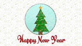 Schreiben, guten Rutsch ins Neue Jahr und lebhafte Weihnachtsbaumdekoration beschriftend stock video