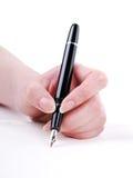 Schreiben mit Goldfeder Lizenzfreies Stockfoto