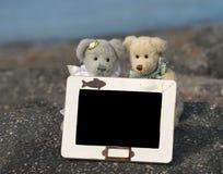 Schreiben Sie auf das Brett des Teddybären Stockfotografie