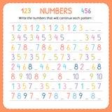 Schreiben Sie die Zahlen, die jedes Muster fortsetzen Zahlen für Kinder Arbeitsblatt für Kindergarten und Vorschule Ausbildung, z stock abbildung