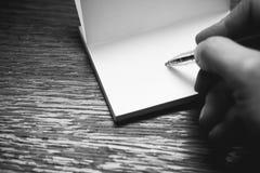 Schreiben Sie eine Anmerkung Stockfotos