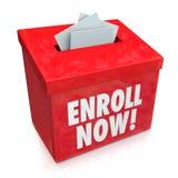 Schreiben Sie jetzt Einschreibungs-Kampagnen-Antriebs-Eintritts-Kasten ein stock abbildung