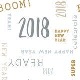 Schreiben Sie Muster glückliche 2018 nahtlos Stockfotos