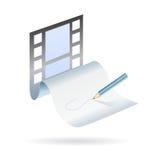 Schreiben Sie und erstellen Sie einen Filmplan Lizenzfreies Stockfoto