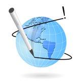 Schreiben Sie und teilen Sie auf Web-Ikone Stockbild