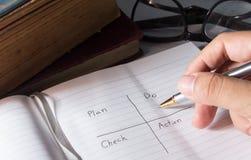 Schreiben Sie Unternehmensplan zum Erfolg. Stockfoto