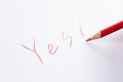 Schreiben Sie YES Stockbild