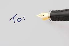 Schreiben und Feder Stockfotos
