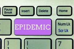 Schreiben von Anmerkungsvertretung Epidemie Zur Schau stellendes weitverbreitetes Vorkommen des Geschäftsfotos einer Infektionskr stockfotografie