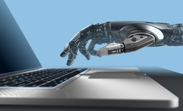 Schreibenlaptoptastatur des Roboters stockfotos