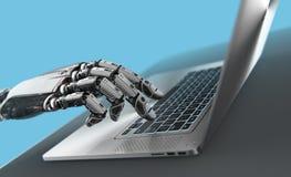 Schreibenlaptoptastatur des Roboters lizenzfreie stockfotografie