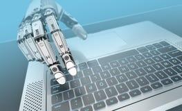 Schreibenlaptoptastatur des Roboters stockfotografie