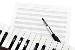 Schreibens-Musik Stockfoto