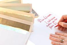 Schreibens-Weihnachtskartenanmerkungen Lizenzfreie Stockfotos