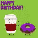 Schreibensanmerkung, die alles Gute zum Geburtstag zeigt Geschäftsfoto Präsentationsglückwünsche, die Jahrestag feiern stock abbildung