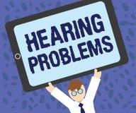 Schreibensanmerkung, die Anhörungs-Probleme zeigt Die Geschäftsfotopräsentation ist teilweise oder Gesamtunfähigkeit, auf Töne no lizenzfreie abbildung
