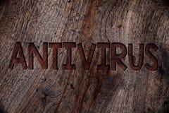 Schreibensanmerkung, die Antivirus zeigt Geschäftsfoto Präsentationsverwahrungs-Sperren-Brandmauer-Sicherheits-Verteidigungs-Schu Stockbilder