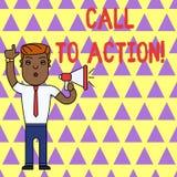 Schreibensanmerkung, die Aufruf zum Handeln zeigt Pr?sentationsermahnung des Gesch?ftsfotos, etwas im Auftrag zu tun erzielen Zie lizenzfreie abbildung