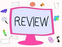 Schreibensanmerkung, die Bericht zeigt Präsentationseinschätzung des Geschäftsfotos von etwas Absicht der Einrichtung der Änderun lizenzfreie abbildung