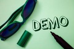 Schreibensanmerkung, die Demo zeigt Geschäftsfoto zur Schau stellende Probe-Beta Version Free Test Sample-Vorschau von etwas Prot stockfotografie