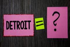 Schreibensanmerkung, die Detroit zeigt Geschäftsfoto Präsentationsstadt in der Hauptstadt der Vereinigten Staaten von Amerika der Lizenzfreie Stockfotos
