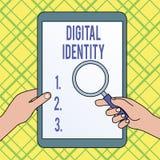 Schreibensanmerkung, die Digital-Identit?t zeigt Pr?sentationsinformationen des Gesch?ftsfotos ?ber das Wesen benutzt durch Compu stock abbildung