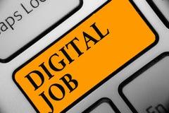 Schreibensanmerkung, die Digital-Job zeigt Die Geschäftsfotopräsentation werden die Aufgabe bezahlt, die durch Internet und Perso stockfoto