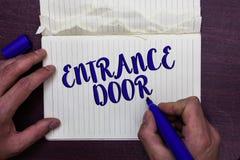 Schreibensanmerkung, die Einstiegstür zeigt Geschäftsfoto Präsentationsweise Eingangs-Tor-Eintritts-im ankommenden Eintritt-Durch lizenzfreie stockfotografie