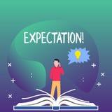 Schreibensanmerkung, die Erwartung zeigt Das Geschäftsfoto, das meteorologischen Forschungsanalytiker zur Schau stellt, sagt Wett lizenzfreie abbildung